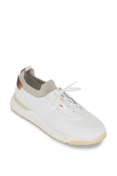 Santoni - Bueno White & Gray Knit Sneaker