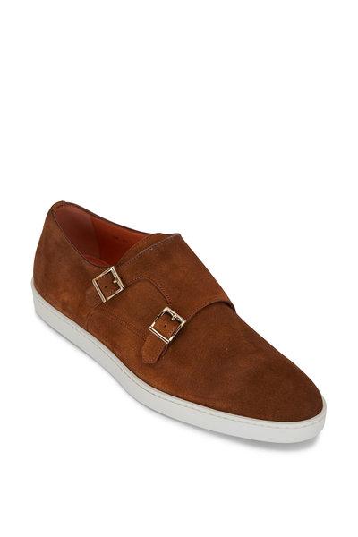 Santoni - Freemont Brown Suede Double Monk Strap Shoe