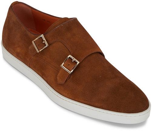 Santoni Freemont Brown Suede Double Monk Strap Shoe