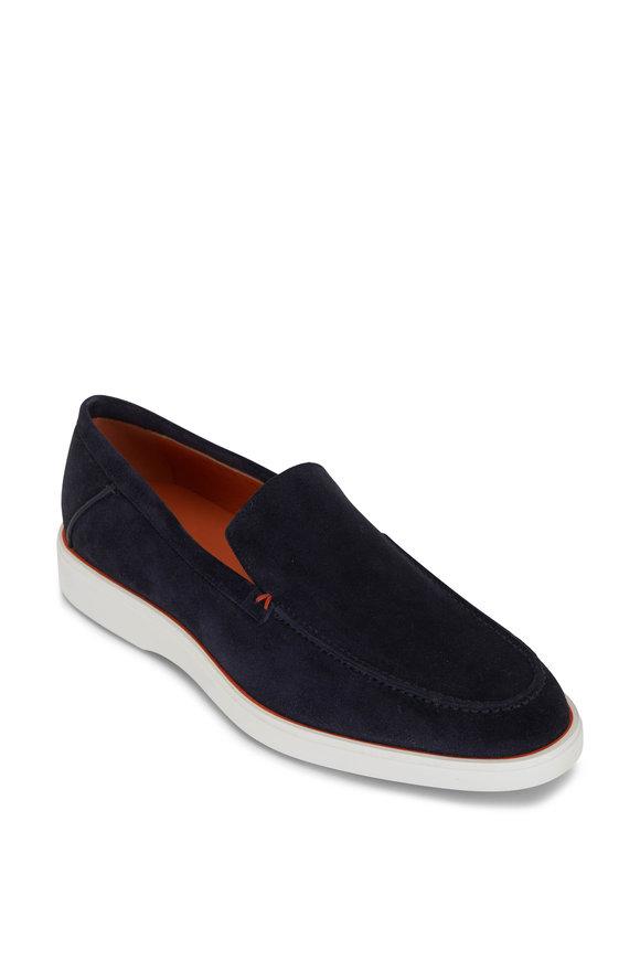 Santoni Boit Navy Blue Suede Loafer
