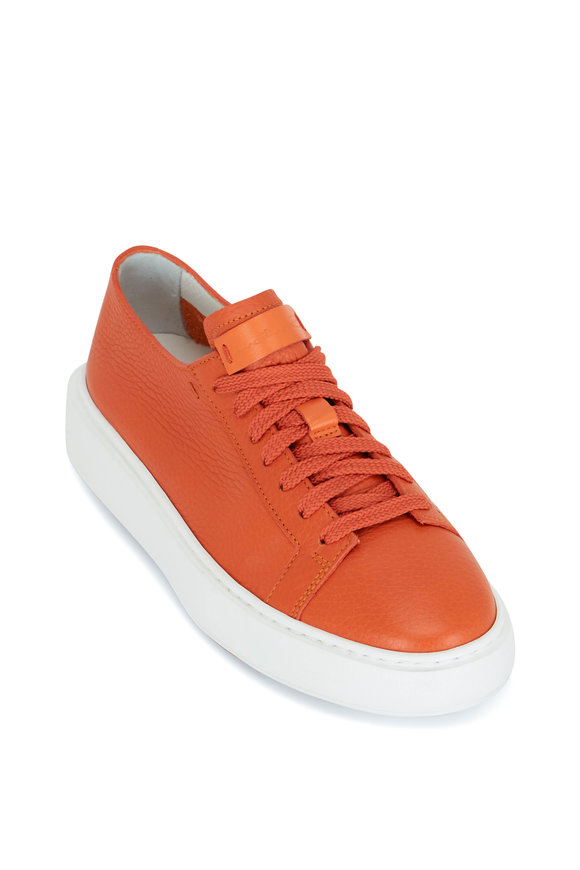 Santoni Orange Leather Sneaker