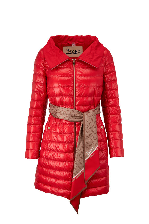 Herno Classic Mid-Length Red Belted Puffer Coat