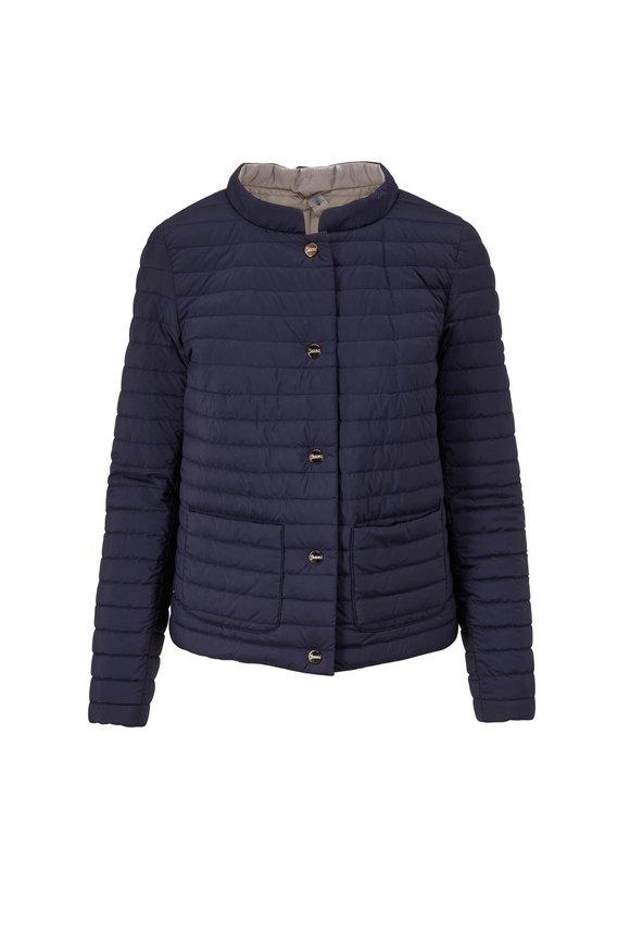 Herno Navy & Silver Reversible Puffer Jacket