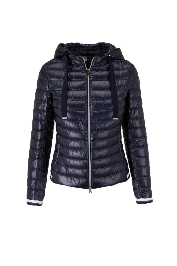 Herno Classic Navy Fitted Hooded Puffer Jacket