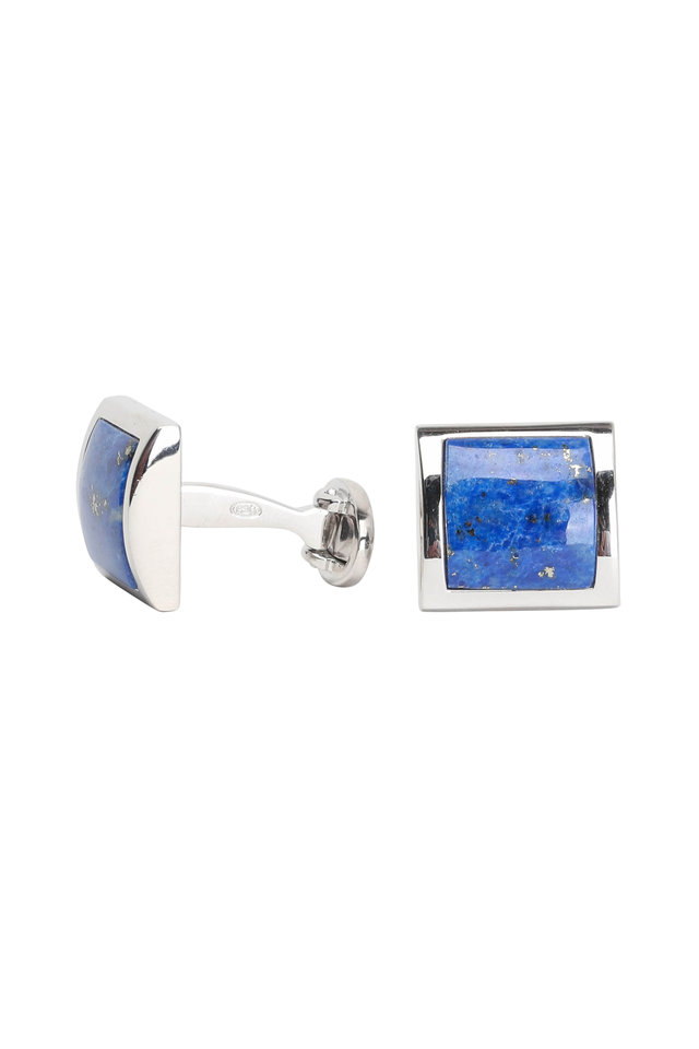 Sterling Silver Curved Lapis Cuff Links