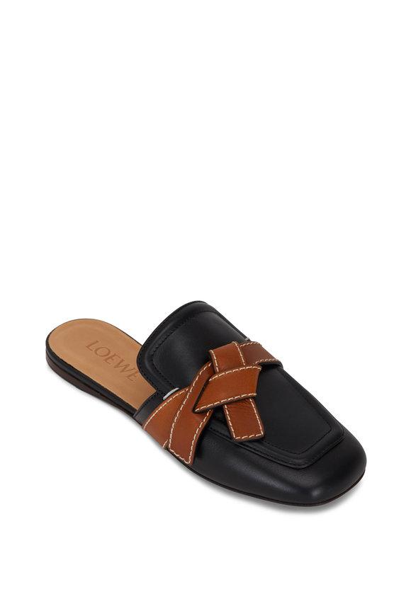 Loewe Gate Black & Tan Leather Mule