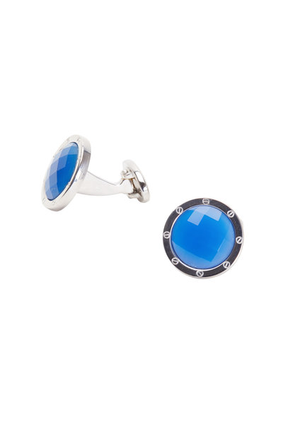 Jan Leslie - Sterling Silver Blue Agate Cuff Links