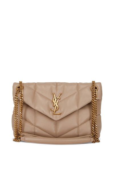 Saint Laurent - Loulou Dark Beige Leather Small Shoulder Bag