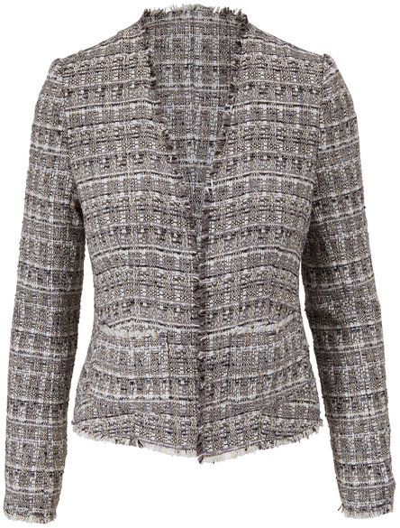 L'Agence Adette Gray Tweed Blazer