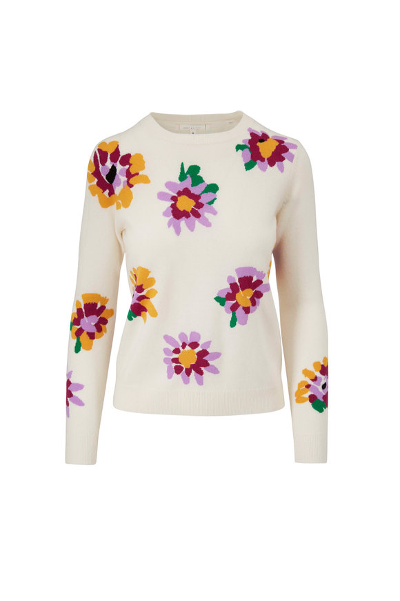 Chinti & Parker Cream Scattered Intarsia Floral Sweater