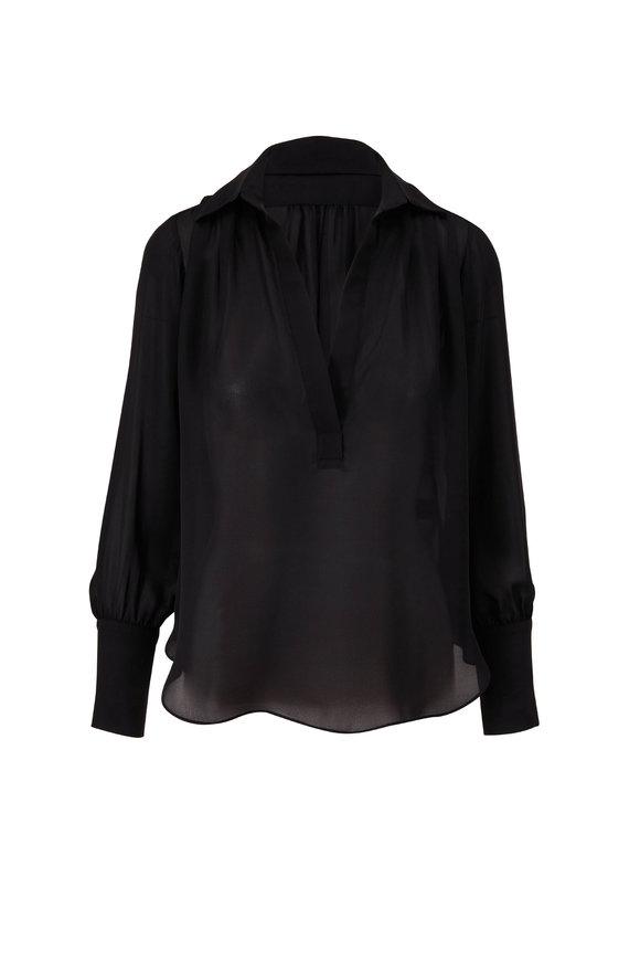 Nili Lotan Colleen Black Silk Top