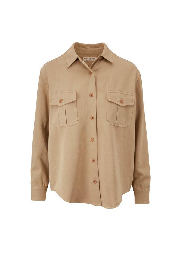 Nili Lotan Troy Khaki Button Down Shirt
