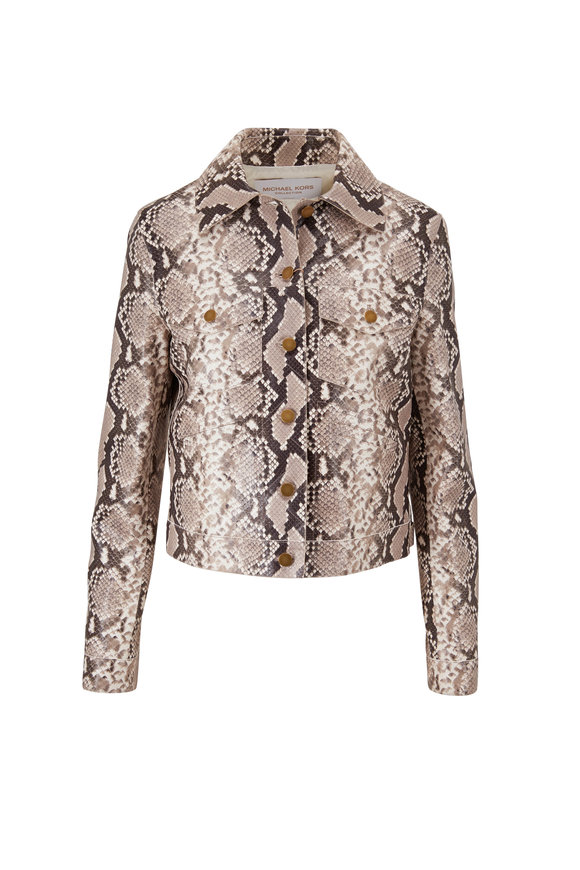 Michael Kors Collection Natural Python Print Leather Jacket
