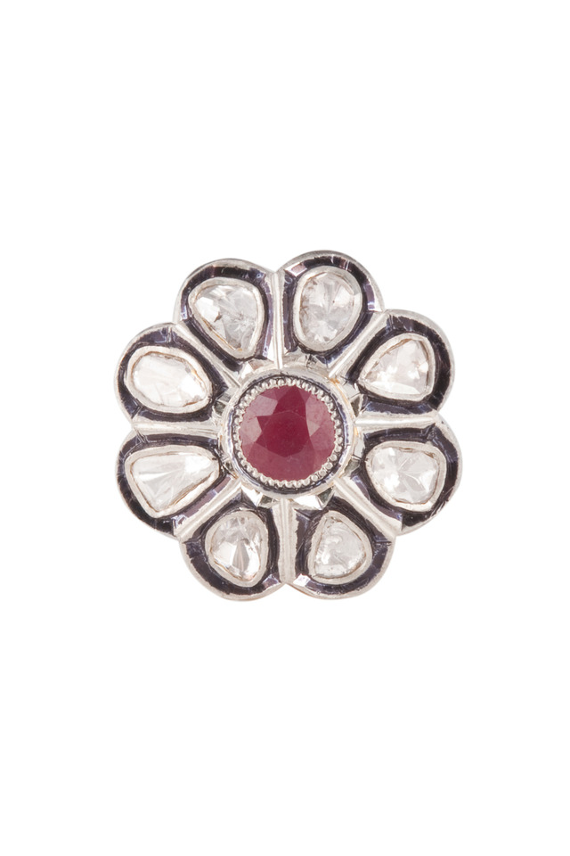 Ruby Diamond Flower Ring