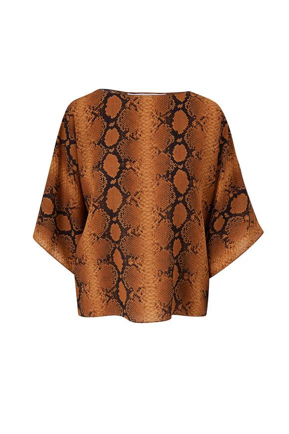Michael Kors Collection Niki Wheat Multi Silk Python Top