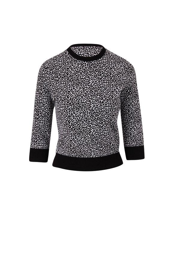 Michael Kors Collection Black & White Leopard Jacquard Sweater