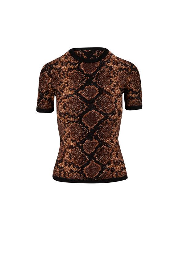 Michael Kors Collection Chestnut Python Jacquard T-Shirt
