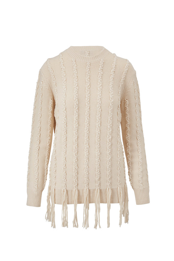 Michael Kors Collection Ecru Embroidered Fringe Hem Sweater