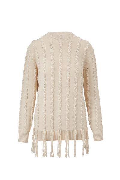 Michael Kors Collection - Ecru Embroidered Fringe Hem Sweater