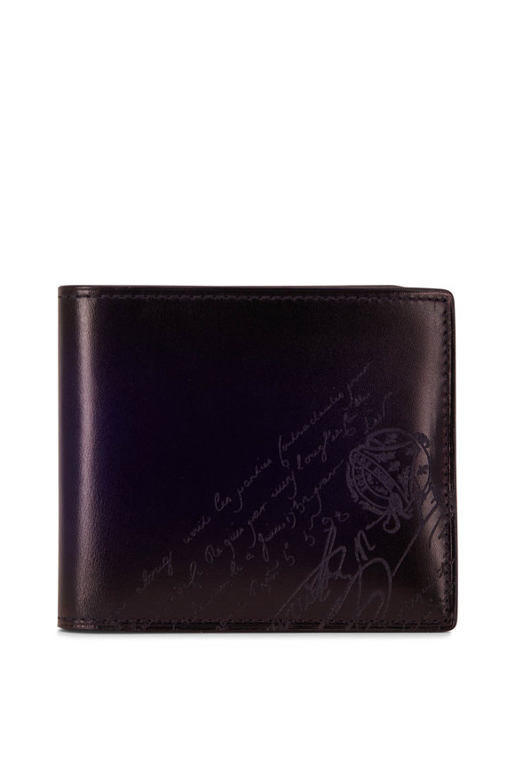 Berluti Makore Blue Smooth Leather Bi-Fold Wallet