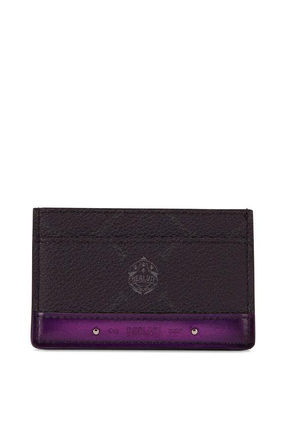 Berluti Black & Purple Leather Card Case