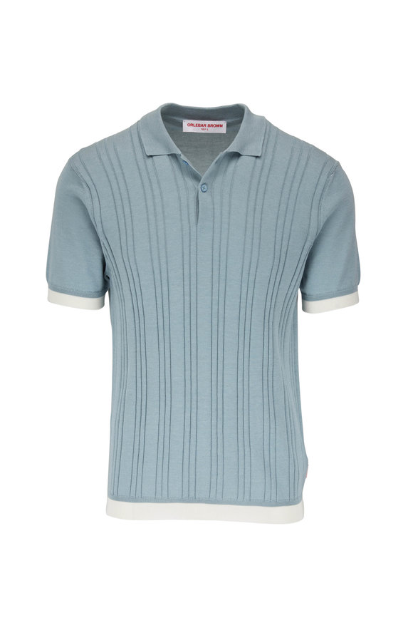 Orlebar Brown Fairfield Mineral & White Ribbed Cotton Polo