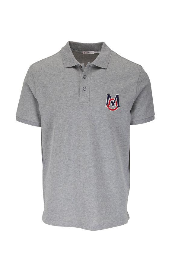 Moncler Gray Short Sleeve Logo Polo