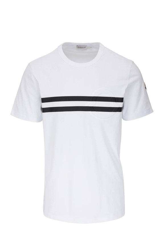 Moncler White & Black Stripe Logo T-Shirt