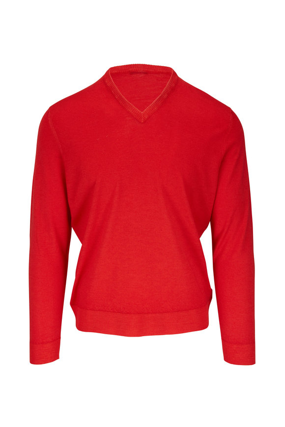 Kiton Red Cashmere & Silk V-Neck Sweater