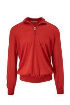 Brunello Cucinelli - Coral Wool & Cashmere Quarter-Zip Pullover