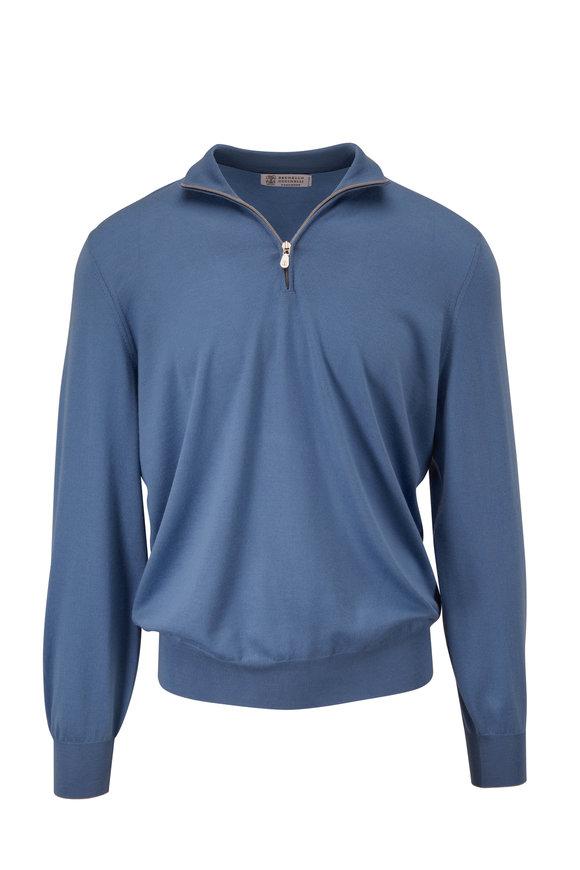 Brunello Cucinelli Blue Wool & Cashmere Quarter-Zip Pullover