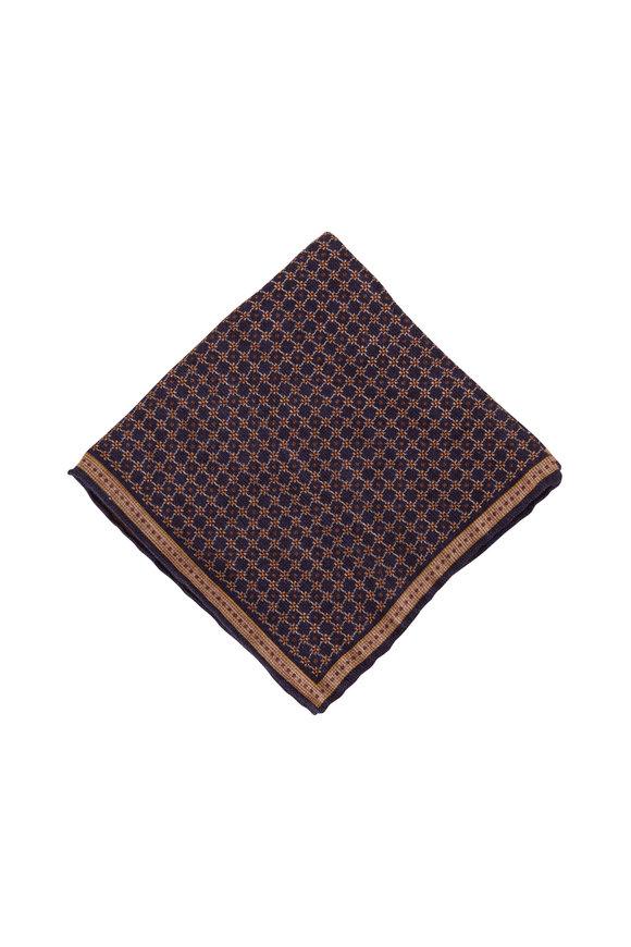 Brunello Cucinelli Navy & Brown Linen & Cotton Pocket Square