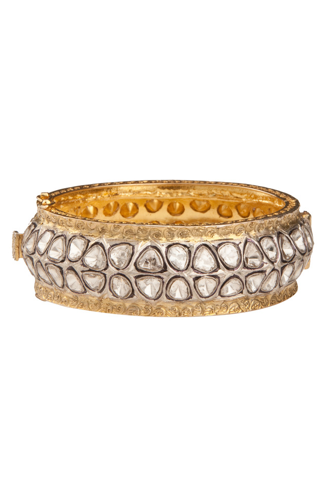 Rose-Cut Diamond Gold Wide Bangle