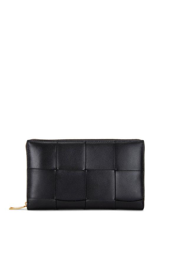 Bottega Veneta Black Wide Weave Leather Zip-Around Wallet