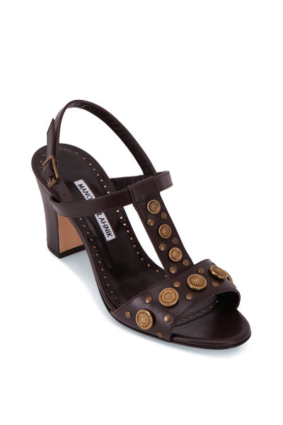 Manolo Blahnik - Volka Dark Brown T-Strap Sandal, 70mm