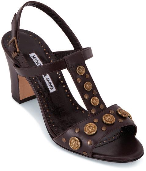 Manolo Blahnik Volka Dark Brown T-Strap Sandal, 70mm
