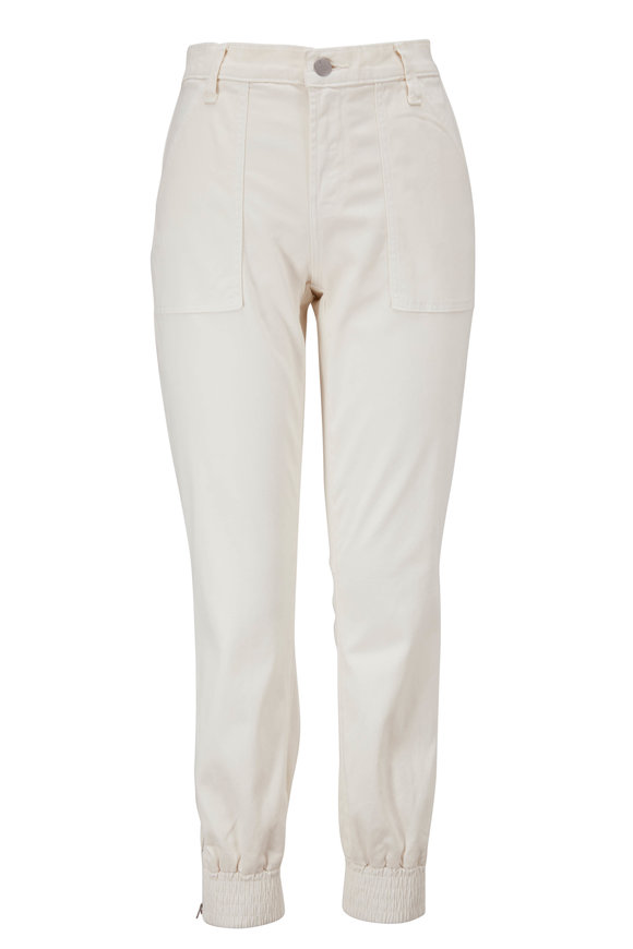 J Brand Arkin Angel White Zip Ankle Jogger