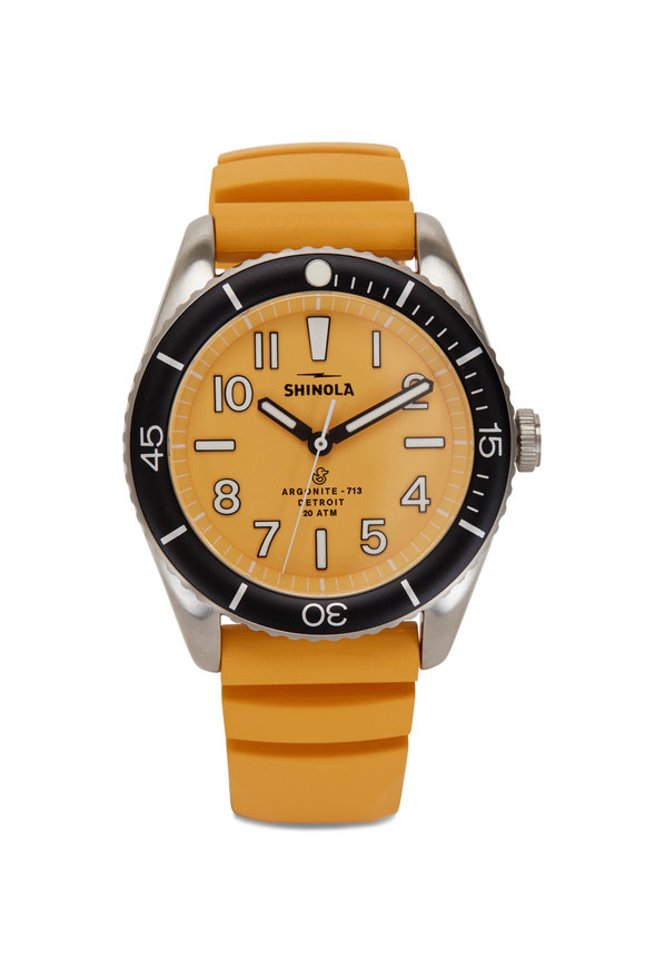 Shinola The Duck Canary Yellow Water Resistant Watch, 42mm