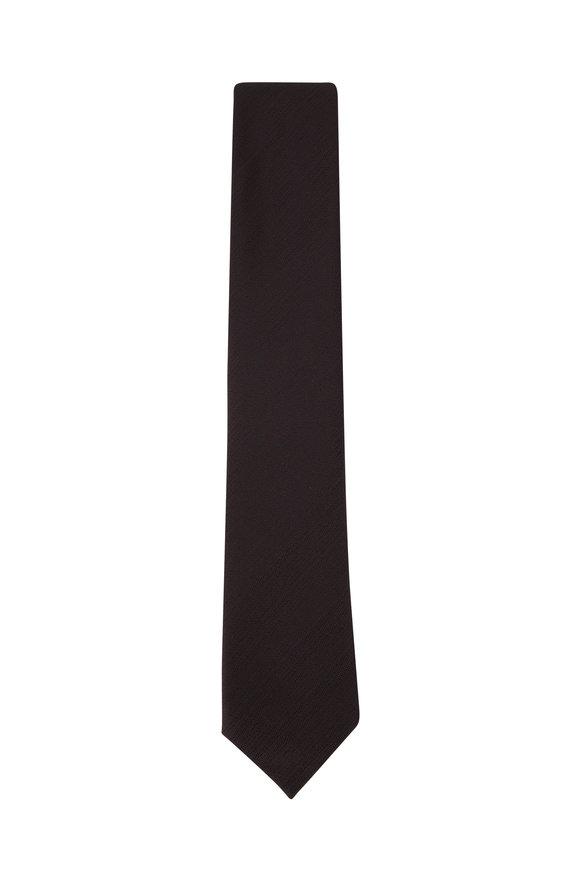 Ermenegildo Zegna Dark Gray Fan Silk Necktie