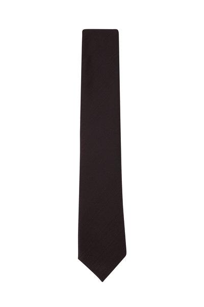 Ermenegildo Zegna - Dark Gray Fan Silk Necktie