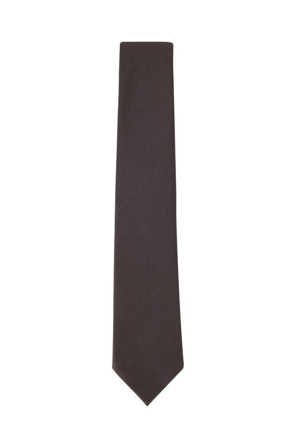 Ermenegildo Zegna Solid Gray Silk Necktie
