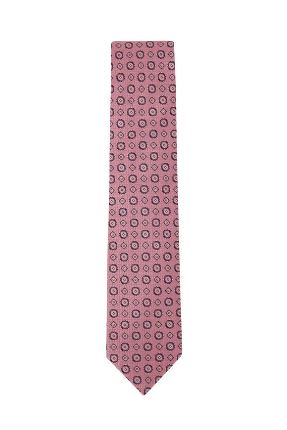 Eton Pink Geometric Print Silk Necktie