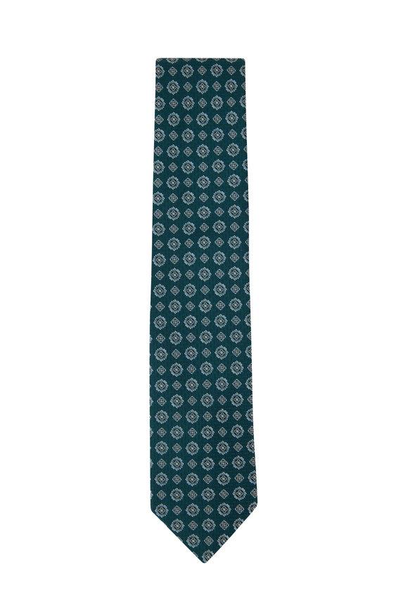 Eton Green Geometric Print Silk Necktie