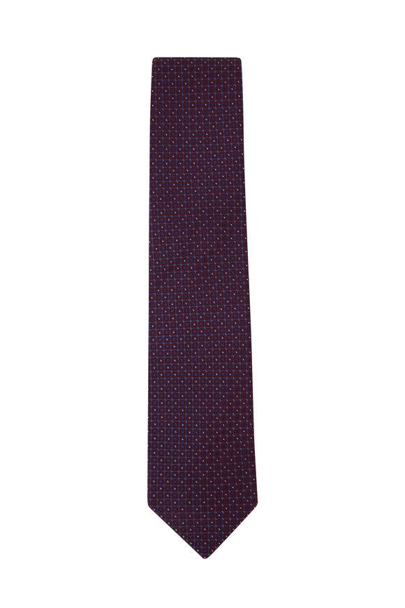Eton Brown Geometric Silk Necktie