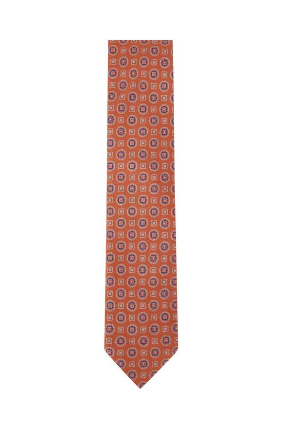 Eton Orange Geometric Silk Necktie