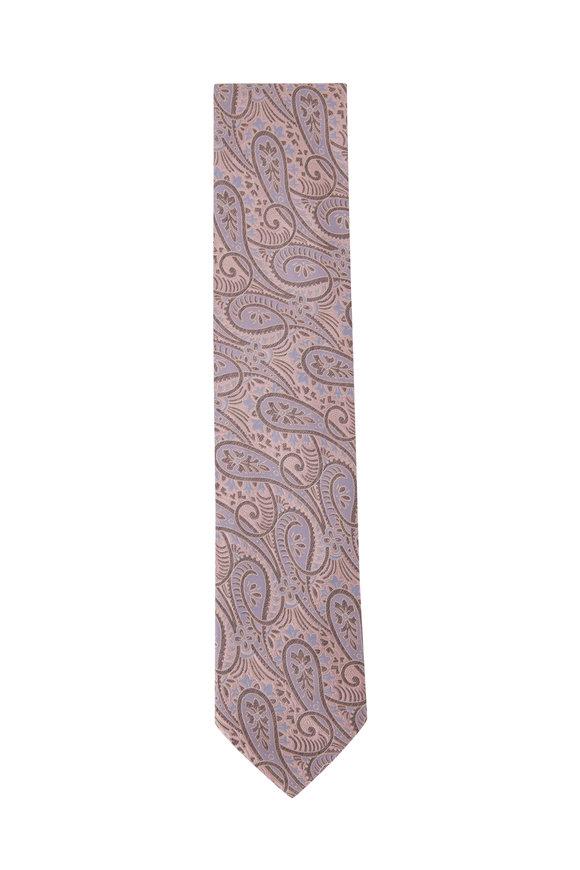 Eton Pink & Red Paisley Print Silk Necktie