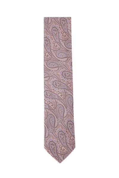 Eton - Pink & Red Paisley Print Silk Necktie
