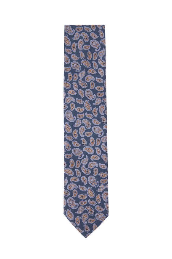 Eton Light Blue Paisley Silk Necktie