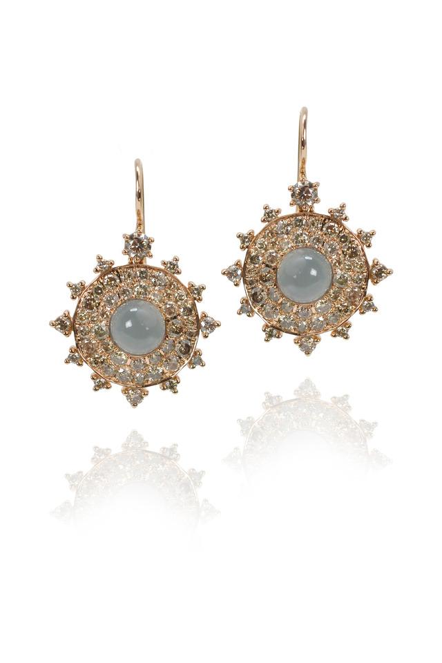 Rose Gold Diamond Grey Moonstone Bullseye Earrings
