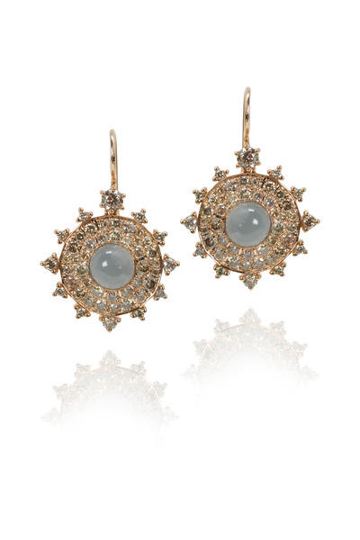 Nam Cho - Rose Gold Diamond Grey Moonstone Bullseye Earrings